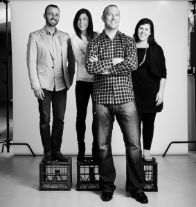 Creating again… NATION Canberra staff, from left, Phil Selby, Julia Unwin, John Attard and Gabrielle D'Ambrosio.