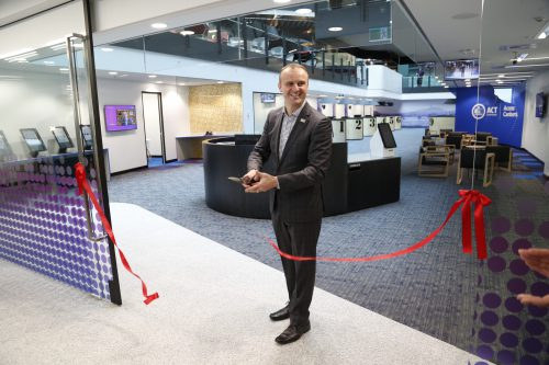 Andrew Barr cutting the ribbon at Winyu House