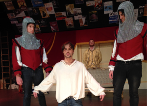 Ben Russell as Casanova,centre, and guards Bradley McDowell, left, and Teig Sadhana.