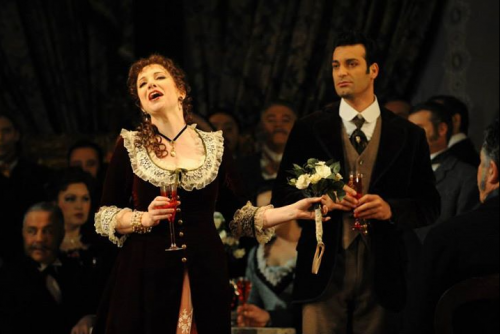 Lorina Gore as Violetta and Rame Lahaj as Alfredo