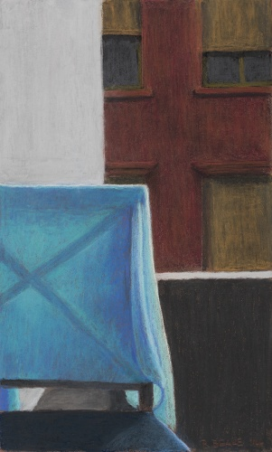 Roger Beale, Studio Balcony with Blue Shawl, 2015 pastel on paper