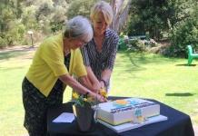 Judy and Sally cutting cake