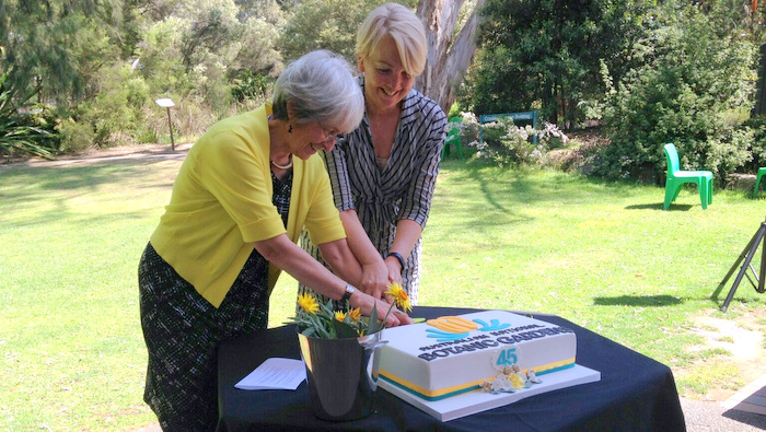 Judy and Sally cutting cake