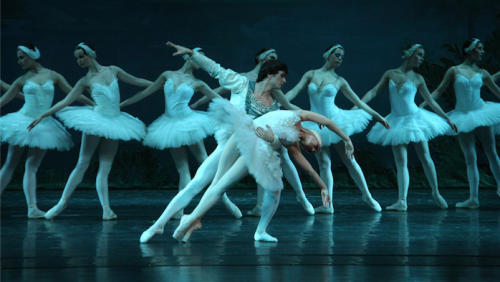 "Prince Siegfried with Odette, the white swan, in the Russian National Ballet Theatre's production of ""Swan Lake""."