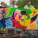 Revealed… a colourful banner painted by mid-Elizabethan children in Belconnen.