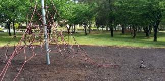 vandalised climbing net