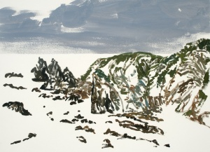 Andrew Sayers - 'Sea beaten rocks, Haywards Beach', gouache on paper.