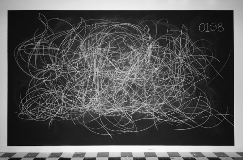 Andrea McCuaig, Dance Patterns, time lapse video, chalk, acrylic black board paint, 2015