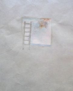 Clare Jackson, Leiüburoo (lost and found), ink, graphite, oil on found paper (detail)