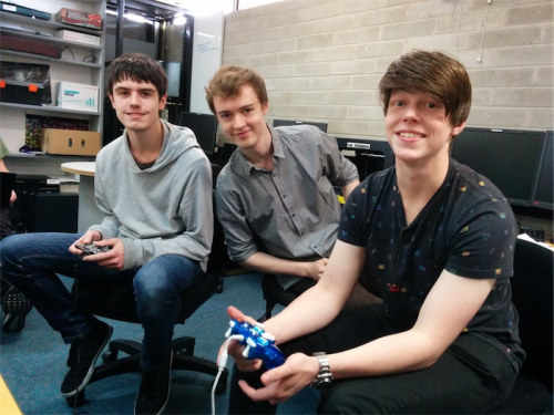Winners… Canberra College students, from left, Aidan Sawer, James Callaway and Tomasz Stawowczyk.