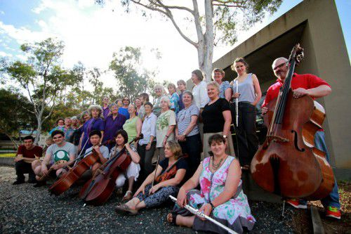 A Chorus of Women outside  the Australian Centre for Christianity and Culture