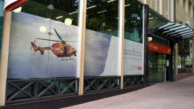 Westpac's Civic signage plugging a helicopter service of no help to the Canberra community.
