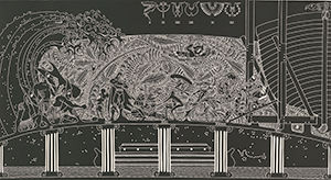 Brian Robinson, Kala Lagaw Ya people As the rains fell and the seas rose  2010 linocut, printed in black ink, from one block 62 x 120 cm National Gallery of Australia, Canberra  Purchased 2012.