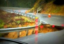 brown mountain roadslip