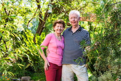 "Lorraine and Geoff Corner... ""We used to live in the tropics and we had become used to seeing a lot of greenery."""
