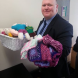 Paul Sweeney drops off some more of his mum's quilts and bears.