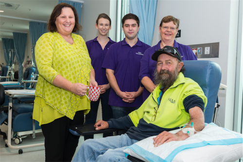 Volunteers co-ordinator Caroline McIntyre, left, with volunteers Maddy Graham, Alex Worrell, Glenda Anderson and patient Phillip Weatheral. Photo by Andrew Finch