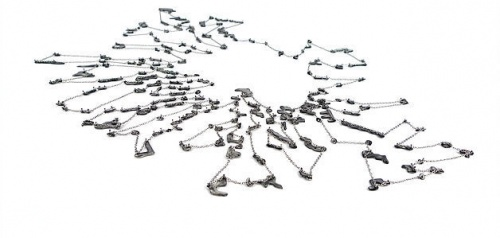 Melissa Cameron 'HEAT II, neckpiece, stainless steel, vitreous enamel, titanium