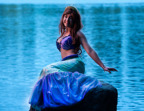 """Mikayla Williams as the Little Mermaid… """"The triple threat, she is a great actor, dancer and singer,"""" says director David Atfield. Photo by Andrew Campbell"""