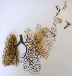 """Sharon Peoples """"Golden Lungs 6, """"Machine embroidered, polyester thread."""