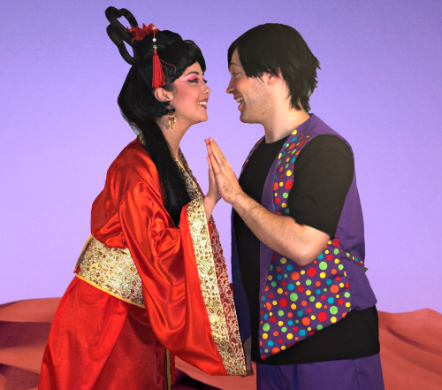 "Amy Dunham as Princess Jasmin and Tim Sekuless in the title role in ""Aladdin"". Photo by Steve McGrory"