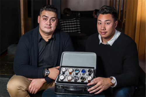 """Errol's logistics and shipping chief Brad Wilton, left, with watch designer Michael Phanprachit… """"We seem to, ironically, do bigger overseas than in Australia,"""" says Michael. Photo by Andrew Finch"""