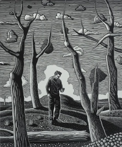 David Frazer -'The text message', linocut,