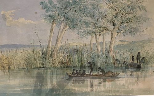 "Spear and net fishing from a canoe and from the riverbank, from ""Australian Aborigines, their implements and weapons,"" detail, ST Gill 1845"
