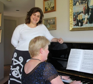 Top Louise Page and at piano, Phillipa Candy