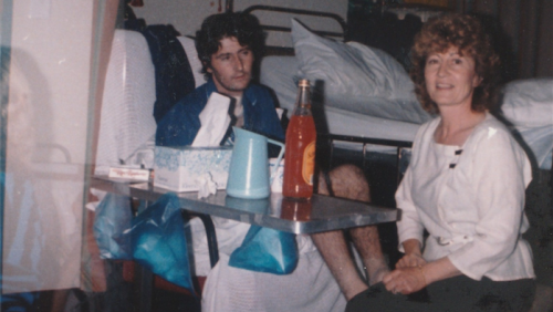 Steven and Christina Tsakalos in the heart and lung rehabilitation centre after overcoming his life-threatening infection in 1987.