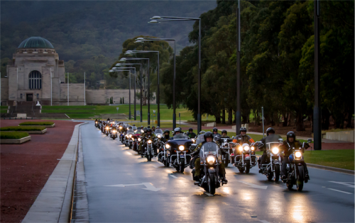 """Members of the Veterans Motorcycle Club ride down Anzac Parade in a scene from """"Exit Wounds""""."""