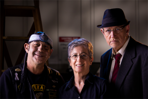 """David Villanti, left, director Pattie Collins and actor Graham Gall on the set of """"Exit Wounds""""."""