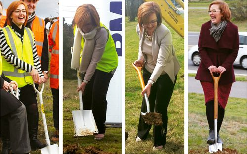 Meegan and her shovel… sod turning for Gunghalin Drive, light rail, Aikman Drive and Cotter Road.