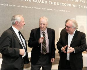 L. Richard Moxham, son of Bill Moxham, another of the six of the Sandakan death march survivors, centre,broadcaster Tim Bowden, R.  Professor John Braithwaite.
