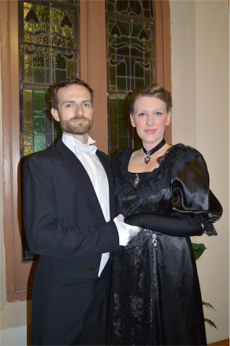 "Danny (played by Charles Hudson) and widow Anna (Louise Keast) in ""The Merry Widow from Bluegum Creek"". Photo by Alison Newhouse"