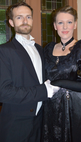 """Danny (played by Charles Hudson) and widow Anna (Louise Keast) in """"The Merry Widow from Bluegum Creek"""". Photo by Alison Newhouse"""