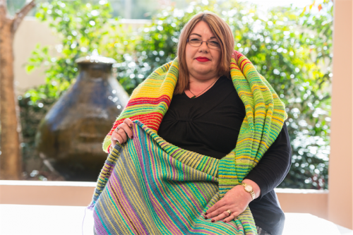 Marion MacLean and her temperature blanket.
