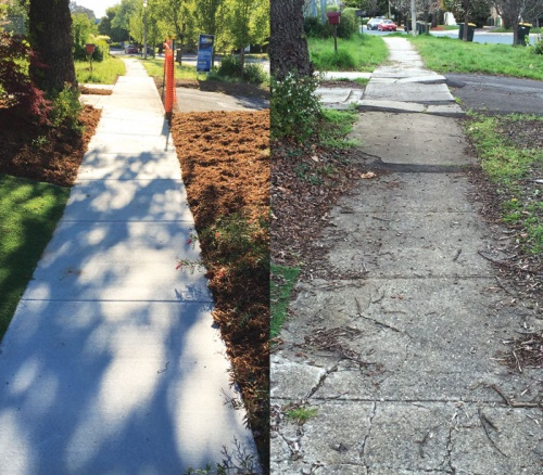 The Canberra we love… only smoother. After and before pictures of the footpath in Yarralumla.