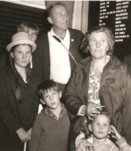 Fred Kasparek, 6, with sister Zora, brother George, father Vratislav Kasparek, mother Zora with sister Dobra arrive at Sydney airport in 1968.