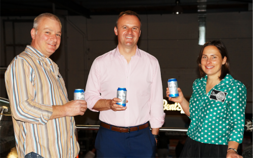 chief Minister Andrew Barr shares a can with brewery owner Richard Watkins, left, and Tracy Margrain at the launch of the BentSpoke-Cannery.