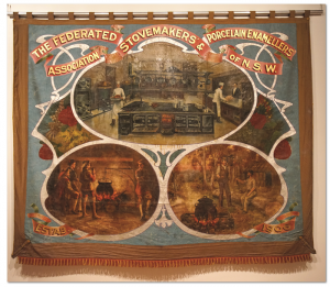 The Federated Stovemakers and Porcelain Enamellers Association of NSW created this banner in 1906, on loan from the Noel Butlin Archives.