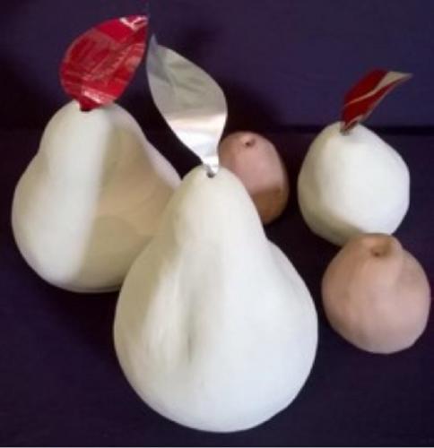 Prefired clay pears by Elisabeth De Koke