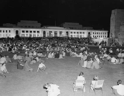 The YMCA's Christmas Eve Carols by Candlelight on the lawns of the then Parliament House in 1958. Photo by W Pedersen