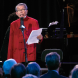 """William Yang narrates the """"Harvest of Endurance"""" concert. Photo by Peter Hislop"""
