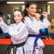 United Taekwondo junior black belt Hallie Canning, 10, left, and Kyokushin karate gold medal winner Mary Vella, 10. Photo by Maddie McGuigan