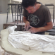 Harrison at work on another horse, exhibition  in the 2017 Sculpture by the Sea