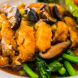 Asian style special twice-cooked duck breast with prawn meat and mushrooms