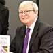Charming... Kevin Rudd and his new book at Llewellyn Hall. Photo by Mike Welsh