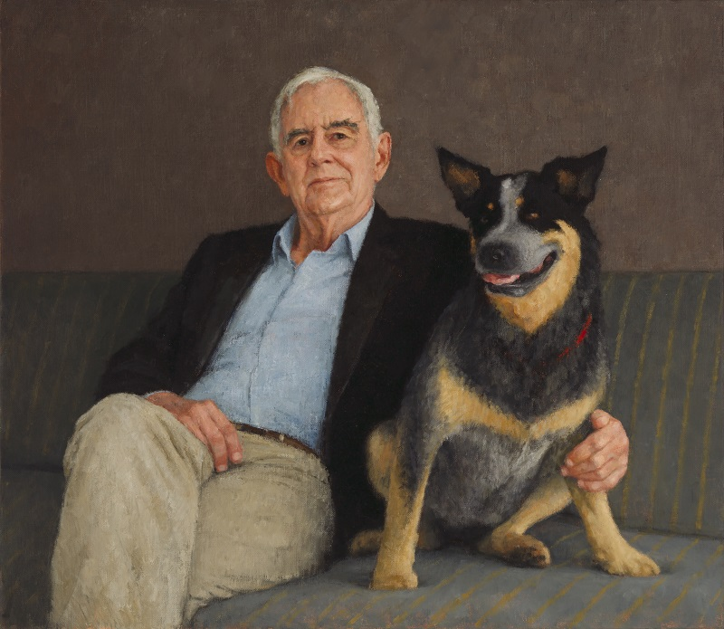 Terry Snow and China 2017, oil on canvas, by Jude Rae , National Portrait Gallery