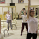 "Choreographer Hannah Pengilly, left, teaches the title dance of ""Foxes: The Musical""."
